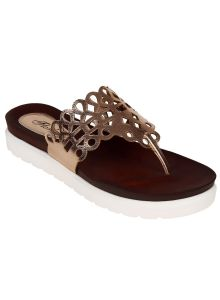 triveni,pick pocket,flora Women's Footwear - Flora Comfort Rose Gold Footbed Sandal (Code - PF-0143-25)