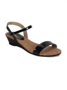 Flora Black Wedges Womens Sandal - Pf-1004-01
