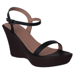 Flora Comfort Wedge Heeled Black Sandal (code - Pf-1016-01)