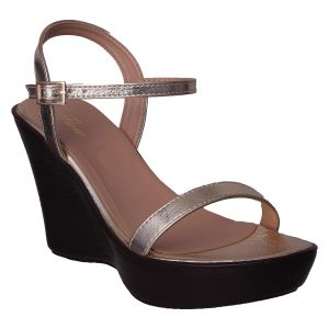 Flora Women's Clothing - Flora Comfort Wedge Heeled Golden Sandals (Code - PF-1016-31)