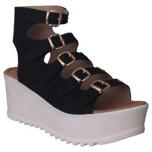 Flora Comfort Wedge Heeled Black Sandal (code - Pf-1017-01)