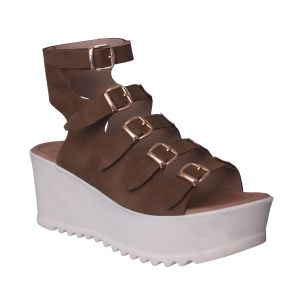Flora Comfort Wedge Heeled Beige Sandals (code - Pf-1017-04)