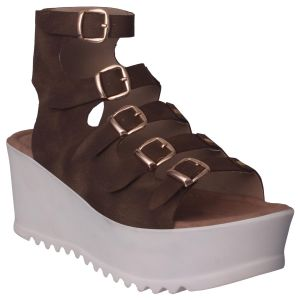 Flora Comfort Wedge Heeled Brown Sandals (code - Pf-1017-06)