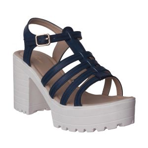 Rcpc,Ivy,Pick Pocket,Kalazone,Shonaya,Asmi,Tng,Flora Women's Clothing - Flora Comfort Wedge Heeled Blue Sandals (Code - PF-1018-18)