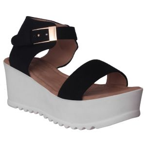 Flora Comfort Wedge Heeled Black Sandal (code - Pf-1019-01)