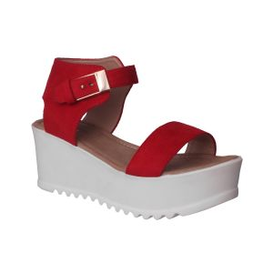 Flora Comfort Wedge Heeled Red Sandals (code - Pf-1019-05)