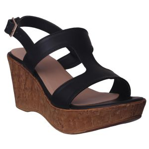 Soie,Flora,Oviya,Asmi,Pick Pocket Women's Clothing - Flora Comfort Wedge Heeled Black Sandal (Code - PF-1021-01)