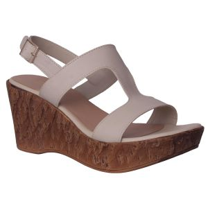 Flora Comfort Wedge Heeled Cream Sandals (code - Pf-1021-03)