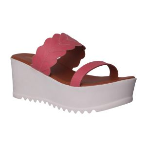 Flora Comfort Wedge Pink Slip On Sandals (code - Pf-1022-10)