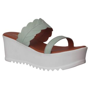 Flora Comfort Wedge Green Slip On Sandals (code - Pf-1022-16)
