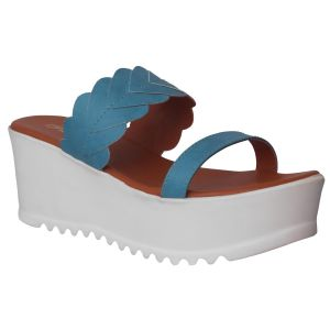 Flora Comfort Wedge Blue Slip On Sandals (code - Pf-1022-18)