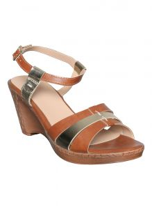 Asmi,Platinum,Flora Women's Clothing - Flora Tan Heeled Sandal (Code - PF-1027-07)
