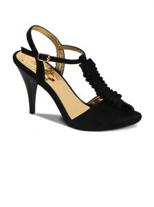 Flora Suede Black Stiletto Heeled Womens Sandal - Pf-2001-01