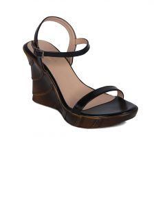 Flora Black Heeled Wedges Womens Sandal - Pf-2002-01