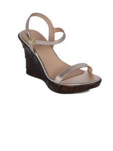 Wedges - Flora Gold Heeled Wedges Womens Sandal  - PF-2002-31