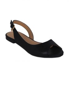 Flora Black Synthetic Leather Flat Sandal For Women - (product Code - Pf-3004-01)