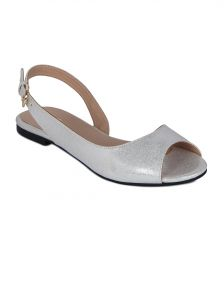 Flora Silver Synthetic Leather Flat Sandal For Women - (product Code - Pf-3004-21)