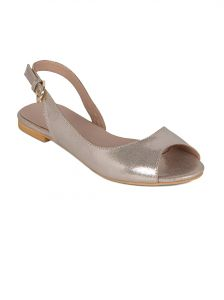 Flora Gold Synthetic Leather Flat Sandal For Women - (product Code - Pf-3004-31)