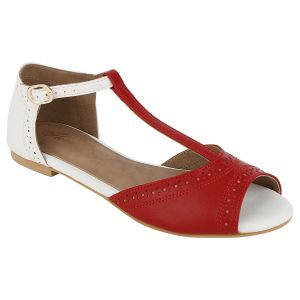 Flora Comfort Red Peep Toe Sandals (code - Pf-3007-05)