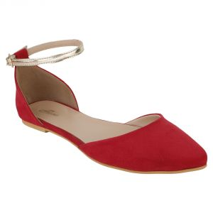 Flora Comfort Red Ankle Suede Pointed Sandals (code - Pf-3009-05)