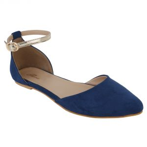 Flora Comfort Blue Ankle Suede Pointed Sandals (code - Pf-3009-18)