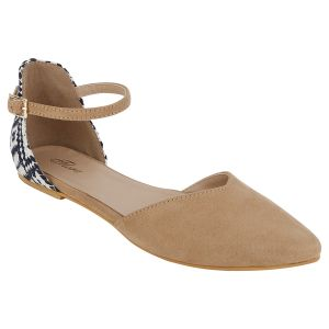 Flora Comfort Cream Ankle Suede Pointed Sandal (code - Pf-3010-03)