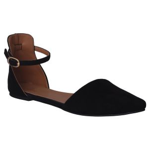 Flora Comfort Flat Black Pointed Sandals (code - Pf-3028-01)