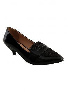 Rcpc,Kalazone,Jpearls,Parineeta,Bagforever,Surat Tex,Tng,Flora Women's Clothing - Flora Black Formal Patent Belly Shoe (Code - PF-5001-01)