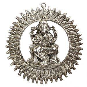 Unique White Metal Chakra Ganesha Idol Hanging