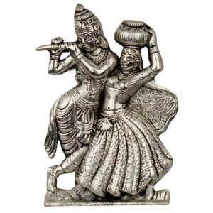 Lord Radha Krishna Antique White Metal Idol