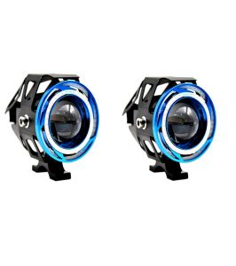 Capeshoppers 2x U11 Cree LED 15w Bike Fog Spot Light Lamp Double Ring Projecter For Hero Motocorp Glamour Pgm Fi