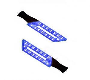 Capeshoppers Parallelo LED Bike Indicator Set Of 2 For Hero Motocorp Passion Pro Tr - Blue