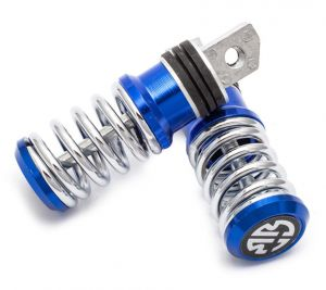 Capeshoppers Spring Coil Style Bike Foot Pegs Set Of 2 For Yamaha Ybr 125-blue
