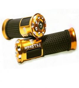 Capeshoppers Monster Designer Golden Bike Handle Grip For Mahindra Centuro Rockstar