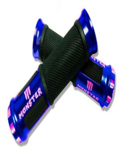 Capeshoppers Monster Designer Blue Bike Handle Grip For Mahindra Centuro Rockstar