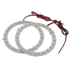 Capeshoppers Angel Eyes LED Ring Light For Mahindra Rodeo Uzo 125 Scooty- White Set Of 2