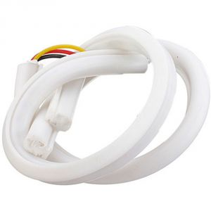 Capeshoppers Flexible 30cm Audi / Neon LED Tube With Flash For Bajaj Discover 150 F- White