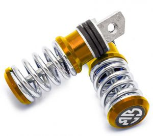 Capeshoppers Spring Coil Style Bike Foot Pegs Set Of 2 For Hero Motocorp Splendor Plus-golden