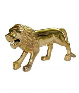 Capeshoppers Brass Standing Lion On Mudgaurd For Royal Bullet Classic Chrome