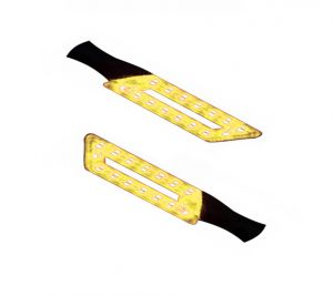 Capeshoppers Parallelo LED Bike Indicator Set Of 2 For Bajaj Pulsar 200cc Double Seater - Yellow