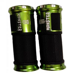 Capeshoppers Monster Designer Green Bike Handle Grip For Mahindra Kine 80cc Scooty