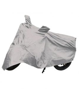 Capeshoppers Bike Body Cover Silver For Mahindra Kine 80cc Scooty