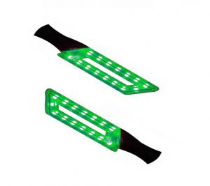 Capeshoppers Parallelo LED Bike Indicator Set Of 2 For Bajaj Pulsar 200cc Double Seater - Green