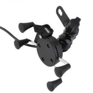 Capeshoppers Spider Mutifunctional Mobile Holder With USB Charger For Mahindra Kine 80cc Scooty