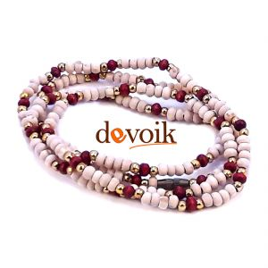 Devoik Handmade Tulsi Lal Chandan Mala / Holy Round Basil Red Sandalwood Rosary (4 Mm)