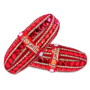 Devoik Handmade Decorative Shagun Nariyal / Fancy Coconut - Red (set Of 2)