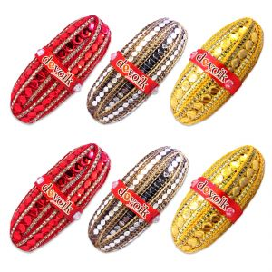 Devoik Handmade Decorative Shagun Nariyal / Fancy Coconut- Red, Green, Yellow (set Of 6)
