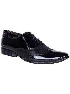Formal Shoes (Men's) - BACHINI Black Lace Up Formal Shoes for Men (Product Code - 1587-Black)