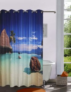 Shower curtains - Lushomes Digitally Printed Romantic Beach Shower Curtain with 10 Eyelets