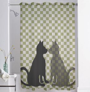 Shower curtains - Lushomes Digitally Printed Cat Shower Curtain with 10 Eyelets